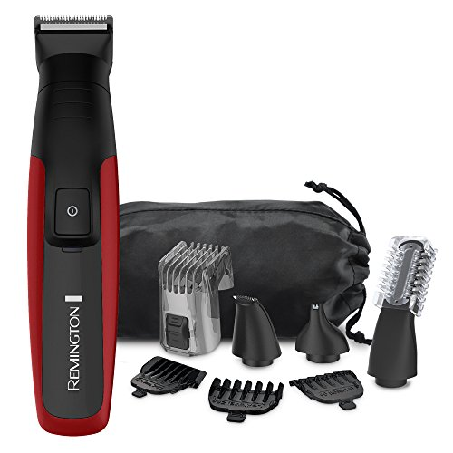 Remington PG6155B Lithium Powered Face, Head & Body Grooming Kit, Cordless Beard Trimmer (9 pieces), Red