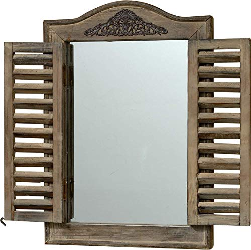 WHW Whole House Worlds French Country Style Rustic Window Mirror with Shutters, -
