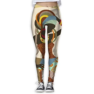 African Women with Traditional Clothing Women's Fitness Sport Digital Printed Yoga Pants