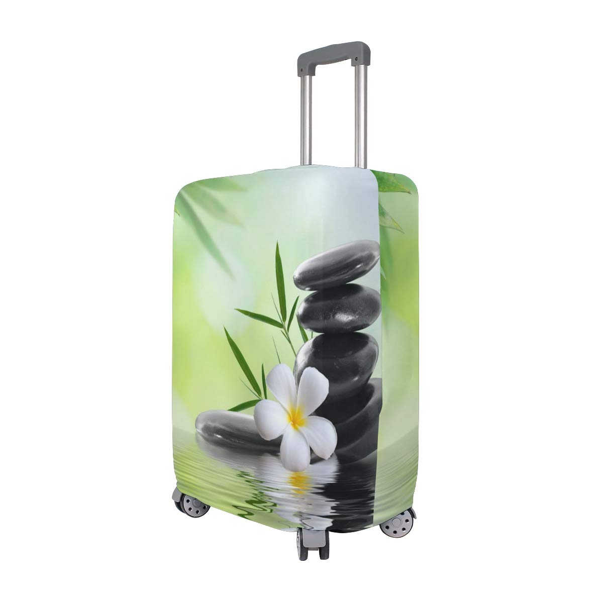 Nanmma Cute 3D Bamboo And Stone Pattern Luggage Protector Travel Luggage Cover Trolley Case Protective Cover Fits 18-32 Inch