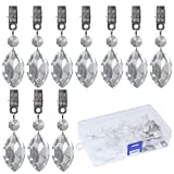 Swpeet 10Pcs Lute Tablecloth Weights with 10Pcs Metal Clip Kit, Crystal Glass Lute Pendant Tablecloth Weights for Picnic Tables Tablecloth Weights Heavy Outdoor