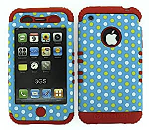 HYBRID IMPACT SILICONE CASE + RED SKIN FOR APPLE IPHONE 3G 3GS DOTS ON LIGHT BLUE