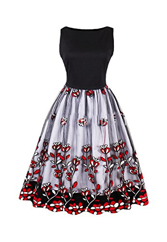 Dresses 1 black amp;red OMZIN Women's Party qngUxn4E