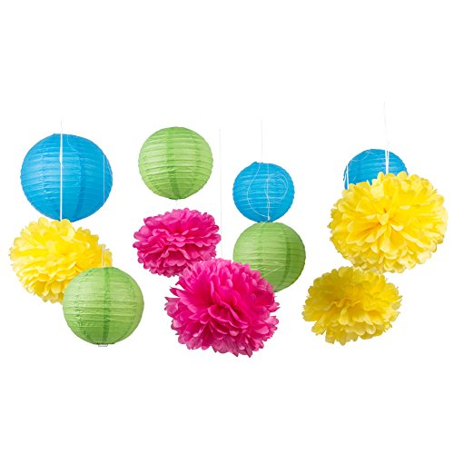 SUNBEAUTY Pack of 11 Mixed Royal Blue Green Paper Lanterns Tissue Paper Pom Pom Flowers Party Wedding Valentines Nursery Hanging -
