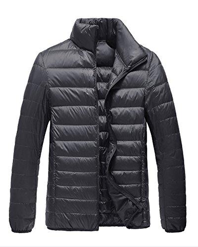 Trensom Men's Lightweight Packable Short Down Jacket Ultralight Winter Zip Puffer Coat Black X-Large