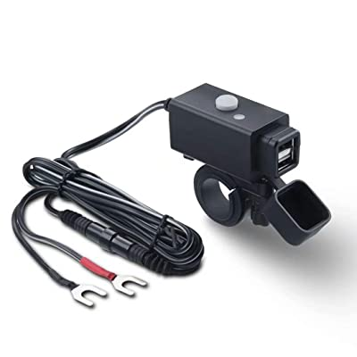 Waterproof Motorcycle USB Phone Charger Adapter with Power Switch 5V Dual Ports Smart Charging Power Socket for Phone/Tablets: Automotive