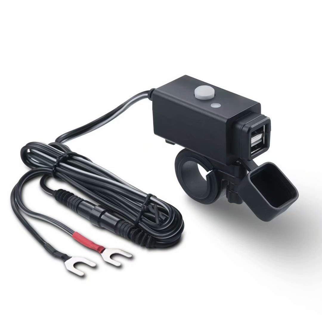 Black - 2 USB Meetou Waterproof Motorcycle USB Charger Adapter with SAE Quick Connector and Power Switch 5V Smart Charging Power Port for iPhone Gopro Samsung Tablets