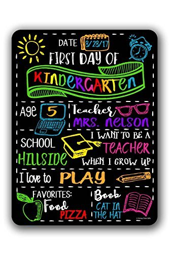 Chalkboard Style First Day of School Customizable Photo Prop Tin Sign - Reusable Easy Clean Back to School by LOUIS