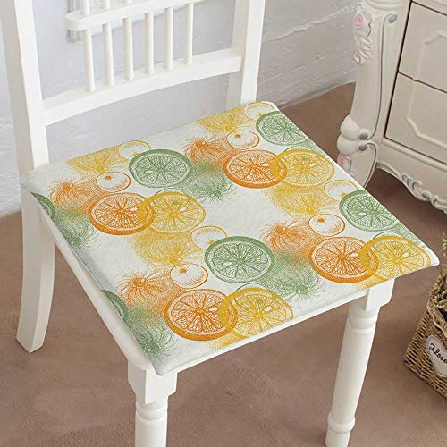 Mikihome Outdoor Chair Cushion Wallpaper with Drawn Oranges Citrus Draw of Pen Ink and Paper Fruit Comfortable, Indoor, Dining Living Room, Kitchen, Office, Den, Washable ()