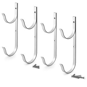 Aquatix Pro Pool Pole Hanger Premium 4pc Aluminium Holder Set, Ideal Hooks for Telescopic Poles, Skimmers, Leaf Rakes, Nets, Brushes, Vacuum Hose, Garden Tools and Swimming Pool Accessories