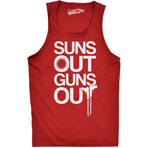 Crazy Dog TShirts - Mens Suns Out Guns Out Tank Funny Workout Tanks Hilarious Gym Shirt (Red) M - herren - M