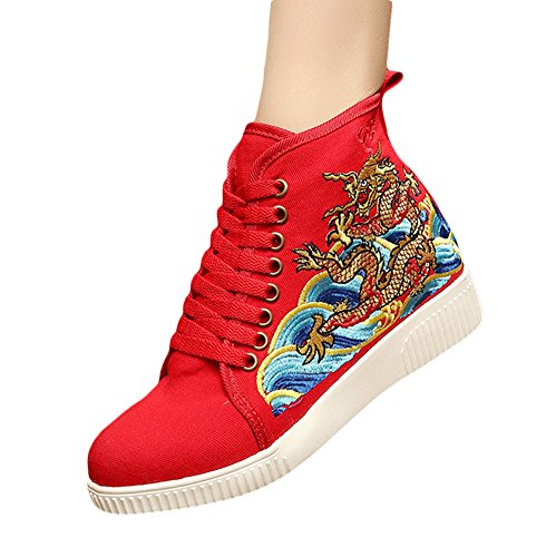Insun Damen Turnschuh Freizeit Flats Bestickte Schuhe Espadrilles Rot