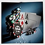 Cotton Microfiber Hand Towel,Poker Tournament Decorations,Gambling Chips and Pair Cards Aces Casino Wager Games Hazard,Multicolor,for Kids, Teens, and Adults,One Side Printing