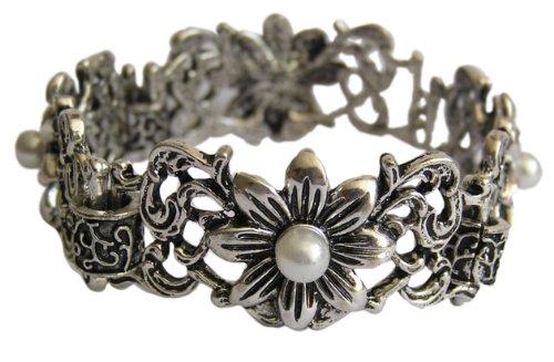 Trachtenschmuck Dirndl Antikschmuck Replikat Armband Blüte & Perle antiksilberfarben - 19 cm