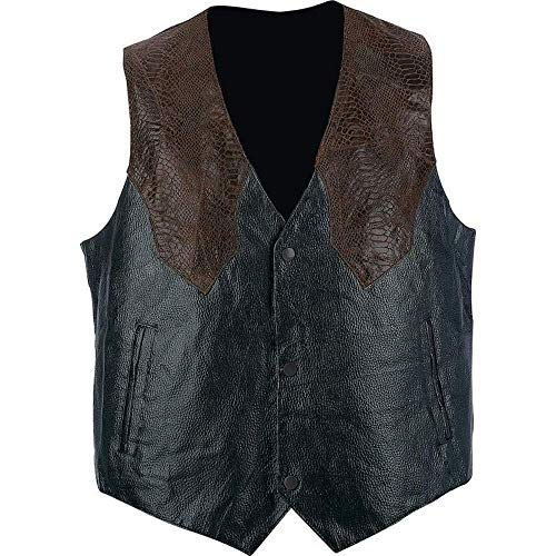 Giovanni NavarreTM Hand-Sewn Pebble Grain Genuine Leather Western-Style Vest,XL