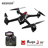 HD Video Drone,Professional Brushless Quadrocopter with 1080P 5G Wifi Camera,6-Axis gyro 2.4 GHz with GPS 1km Remote Control Distance,One Key Return and Headless Mode Function RTF