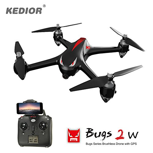 HD Video Drone,Professional Brushless Quadrocopter with 1080P 5G Wifi Camera,6-Axis gyro 2.4 GHz with GPS 1km Remote Control Distance,One Key Return and Headless Mode Function RTF by Kedior
