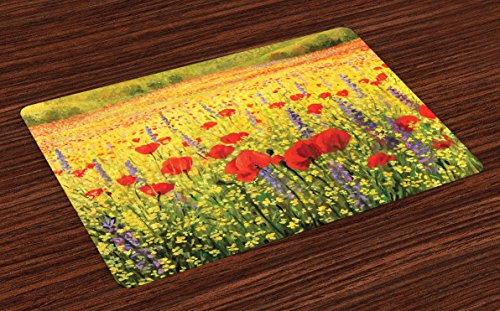 Ambesonne Flower Place Mats Set of 4, Colorful Field with Poppies Yellow Flowers Lavendar Farmland Hills Scenery, Washable Fabric Placemats for Dining Room Kitchen Table Decor, Yellow Red