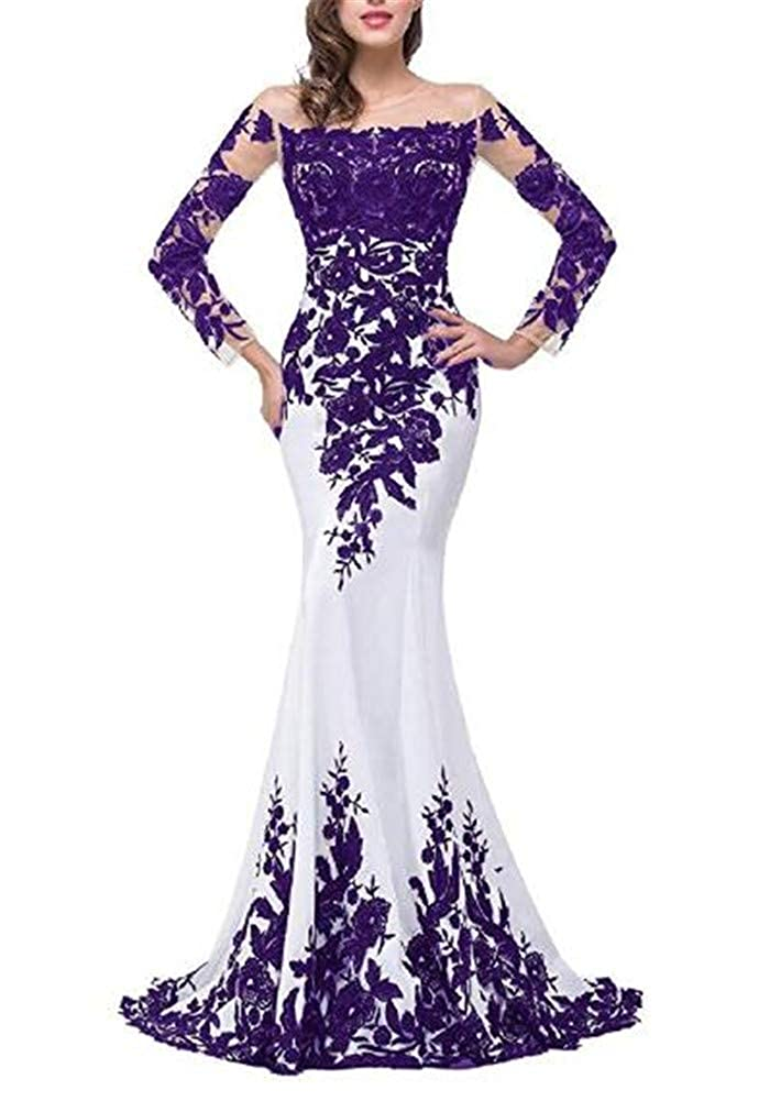 Purple Yuki Isabelle Women's Lace Appliques Mother of The Bride Dress Formal Wedding Evening Gowns with Sleeves