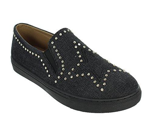 Only U Star Pattern Denim Metal Studs Slip On Flat Sneaker Black zSEglHTKX