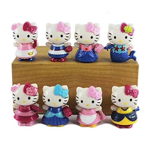 8pcs/bag Japan Cartoon Anime 6.5cm Kawaii hello kitty Action Figures KT cat princess Cake Figurine Decor girls love gift toys -