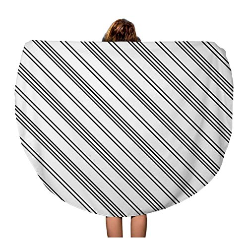 Tinmun 60 Inches Round Beach Towel Blanket Necktie Black Diagonal Lines Striped Pattern Symmetrical Linear Stripes Travel Picnic Carpet Yoga Mat ()