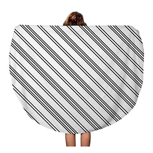 Tinmun 60 Inches Round Beach Towel Blanket Necktie Black Diagonal Lines Striped Pattern Symmetrical Linear Stripes Travel Picnic Carpet Yoga Mat