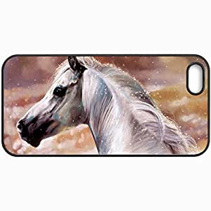 Personalized Protective Hardshell Back Hardcover For iPhone 5/5S, White Horse Design In Black Case Color