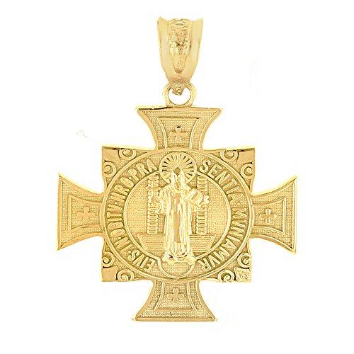 14k Yellow Gold Saint Benedict Maltese Cross Religious charm Pendant (1.06