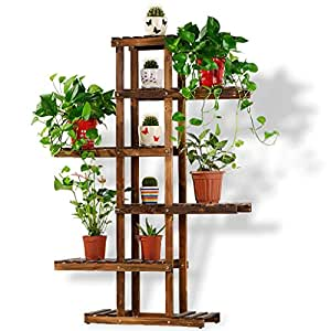 Solid Wood Flower Rack, 6 Layers of Asymmetric Plant Display Stand, Living Room Balcony Shelf (L45cm W 28cm H103cm) Carbon Baking Color