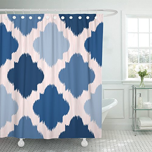 Breezat Shower Curtain Colorful Abstract Blue Ikat on Traditional Ethnic Pattern the in Indonesia Asian Countries Pink Chevron Waterproof Polyester Fabric 60 x 72 Inches Set with Hooks by Breezat