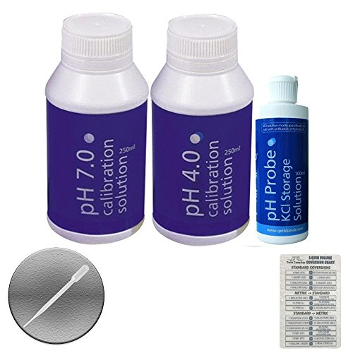 3 Pack Bluelab Bundle: pH 4.0 & 7.0 Calibration Solution 250ml & pH Probe KCI Storage Solution 100 ml + Twin Canaries Chart & Pipette