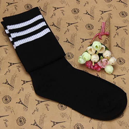 Inkach(TM)1 Pair Thigh High Socks Over Knee Girls Football Socks Black Black BNjrXa