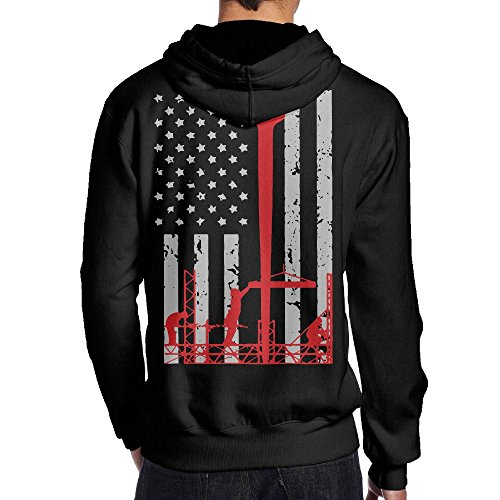 Praygood11 Ironworker America Flag Men's Pullover Hoodies Sport Outwear,Back Print (Life At The Top Shirt)