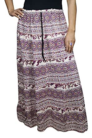 Womens Free Falling Skirt Miriam Purple Flowy Printed Cotton Long Skirts Large