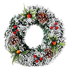 DENTRUN Christmas Wreath Whitehall Decorated,Handmade Festival Simulation Flowers Decoration Wedding Celebration,Winter Red Berry Holiday Versatile Design, Christmas Artificial Door Wreaths 1