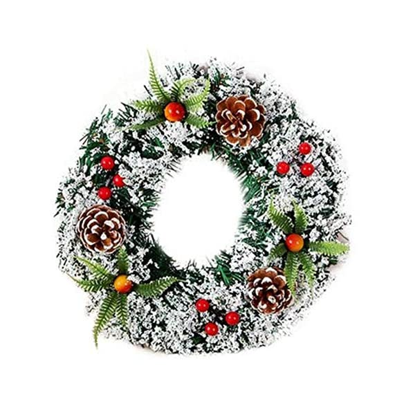 DENTRUN Christmas Wreath Whitehall Decorated,Handmade Festival Simulation Flowers Decoration Wedding Celebration,Winter Red Berry Holiday Versatile Design, Christmas Artificial Door Wreaths