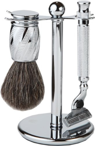 3 Piece Premium Shaving Set With Mach 3 Handle, 100% Badger Brush, With All metal Chrome Classy Stand (Chrome Swirl)