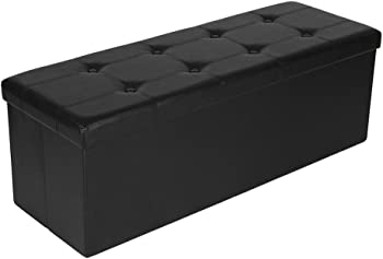 Onebuyten PVC Leather Rectangle Leather Button Footstool