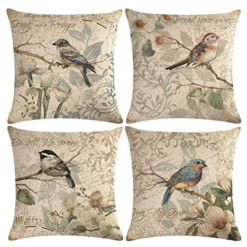 ULOVE LOVE YOURSELF 4pack Vintage Bird Pillow Covers Birds Singing On The Branch with Musical Note& Inspirational Words Home Decorative Pillowcases Retro Cushion Covers 18
