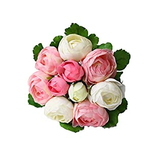 IFASHION 10pcs of Small Tea Rose Bouquet Simulated Camellia Bride Holding Flowers Wedding Artificial Flowers (Pink and white) 86