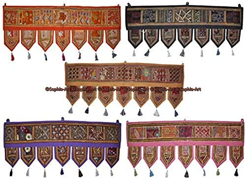 Sophia-Art Indian Cotton Home Decor Vintage Patchwork Door Topper Valances Window Indian Valances Hand Embroidered Patchwork Toran Boho Bohemian Decor Living Room Decor 78 inches 5 Pc lot