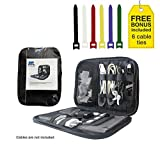 Travel Cable Organizer Bag Small Electronic Bag Case for Phone Charger, Headphones and Accessories, Water resistance, AMC Dynamic, Black Bonus Cable Ties