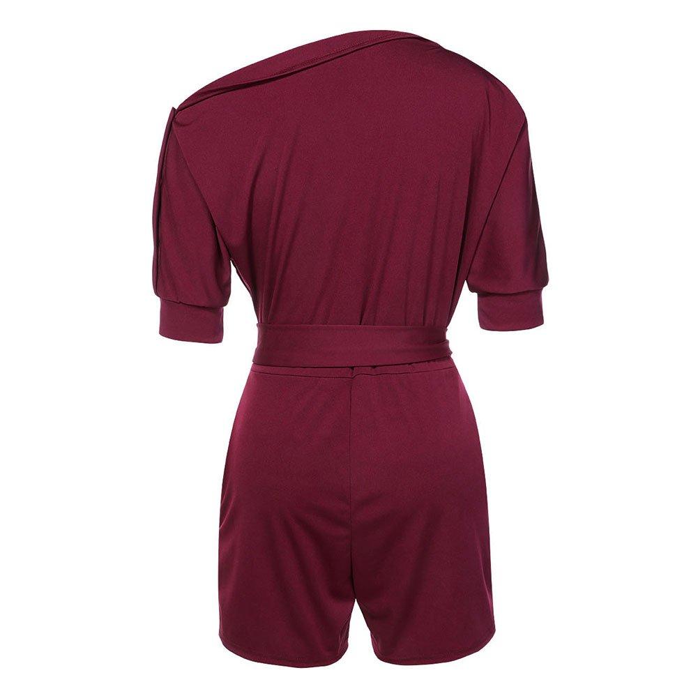 dd8ff012593628 FeelinGirl Femme Combishort Combinaison Pantalon Courte Manches de ...