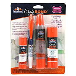 Elmers Craftbond Scrapbook Glue Set, Clear Dual Tip Pen & Extra Strength Glue Stick (E61579)