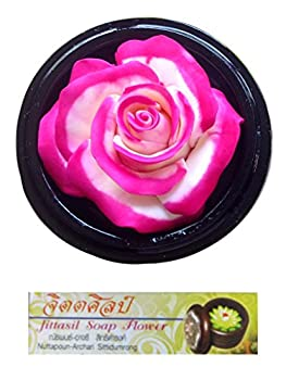 "Jittasil Hand-Carved Soap Flower, Pink White Rose, Two-tone in wood orb, 4"" Gift Set"