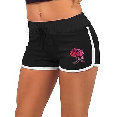 Quliuwuda Womens Pink Ink Rose Black Mini Gym Adjustable Low Waist Hot Shorts