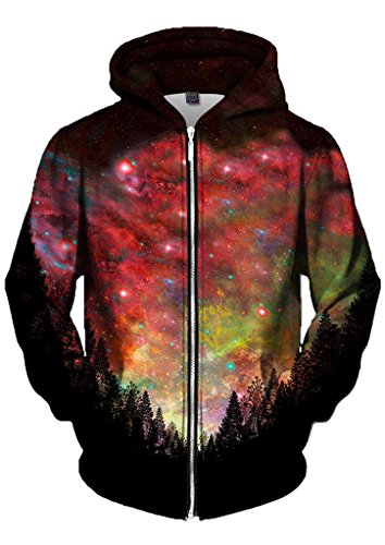 Gratefully Dyed Rasta Woods Zip Up Hoodie - Premium Sublimation Graphics Clothing - X-Large