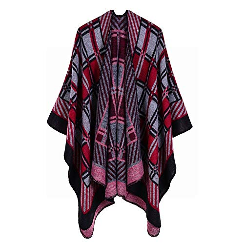 DEED Ladies Diagonal Stripes Small Plaid Imitation Cashmere Scarf Retro Slit Shawl European and American Popular Street Fashion Cloak,Red Black,130150cm - Ladies Diagonal Stripes