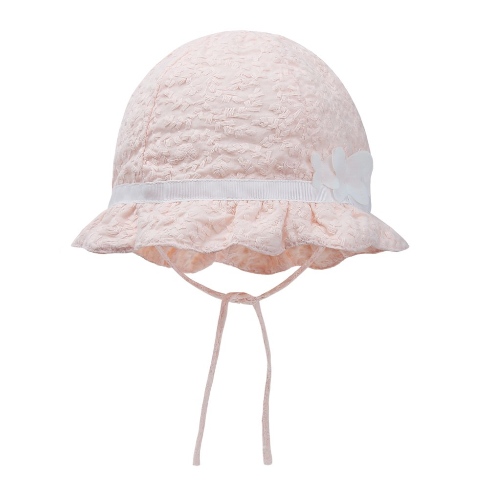 vivobiniya Baby Girl Pink Bowknot Sun Hats Newborn Summer/Spring Hats Cotton (48CM(Head Circumference 18.8IN) 9-12M)